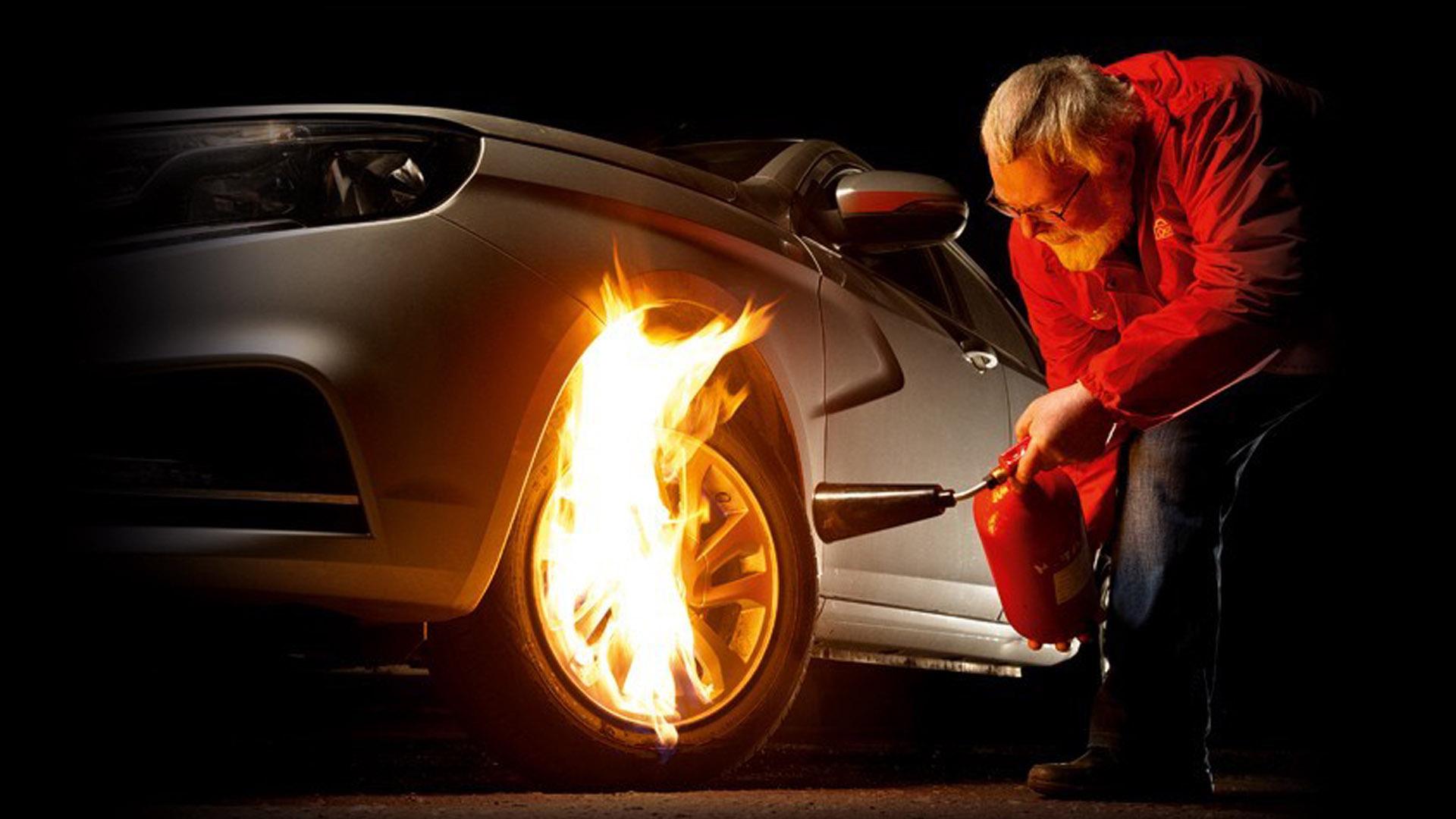 Перегрев тормозов с пожаром в колесах